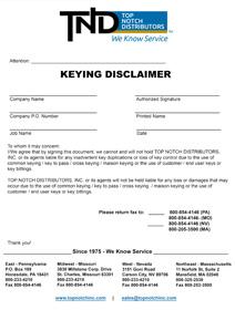 Keying Disclaimer